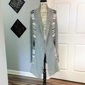 Olive & Oak Gray Black White Open Long Cardigan